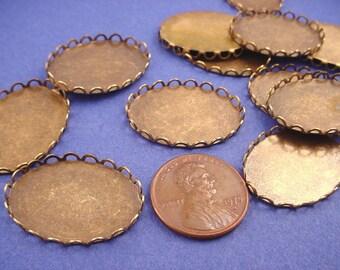 8 Brass Ox Oval Lace Edge Bezel Cups 25x18