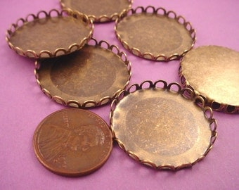 6  Brass Ox Round Lace Edge Bezel Cups 26mm