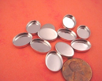 12 Silver tone Oval Bezel Cups 14x10 High Wall