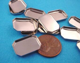 12 Silver  tone Octagon Bezel Cups 18x13