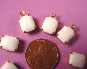 Vintage White Glass Octagon Drop Charms 10x8