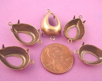 12 Brass Ox Pear Prong Setting 18x13 2 Ring Open Back connectors