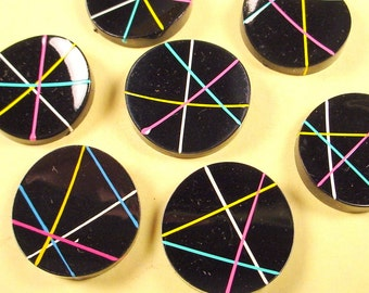 8 vintage retro abstract lines cabochons 21mm