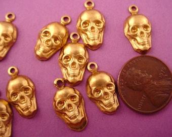 12 brass human skulls stampings charms 17mm
