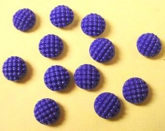 12 vintage glass Dark blue embossed dots cabochons 8mm