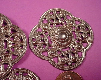4 Vintage Steel Stamping in Arabian Moorish  Rounded square Design