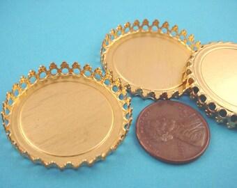 4 Brass Round Crown Edge Bezel Cups 30mm