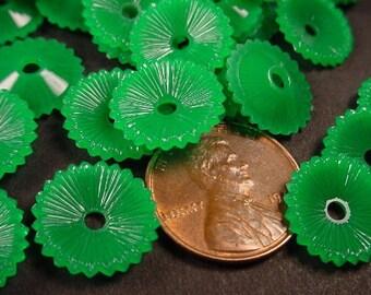 36 Vintage Green Flower Disk Beads 14mm