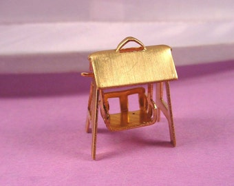 3 brass playground swingsets swing charms with loop
