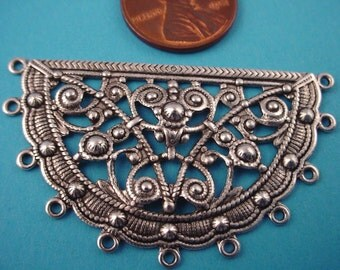 2 Silver Ox Filigree Half Round Stampings with 11 Loops