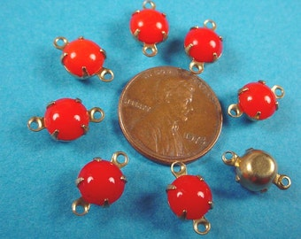 6 Vintage Red Glass Round smooth dome  Stone Connectors 7mm brass setting closed back