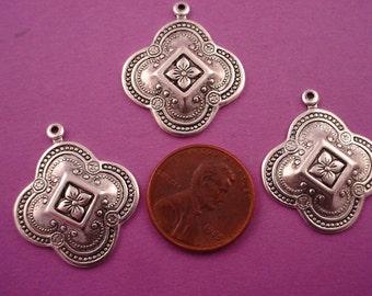 6 silver ox plate art nouveau medieval style charm drops 26mm