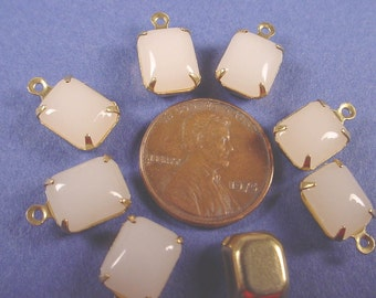 6 Vintage Milky White Glass Octagon Drop brass Charms 10x8