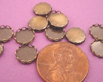Brass Ox Antique Brass Round Lace Edge Bezel Cups 7mm - 16 Pieces