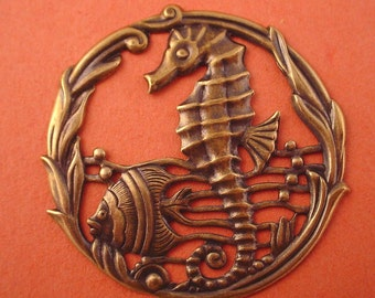 1 brass ox fish seahorse water scene cut out stamping