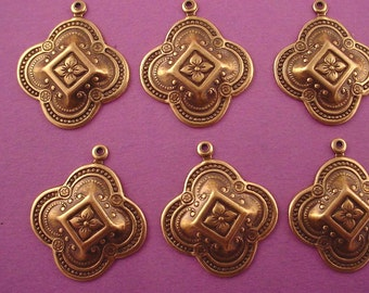 6 brass ox art nouveau moorish medieval charms 26mm