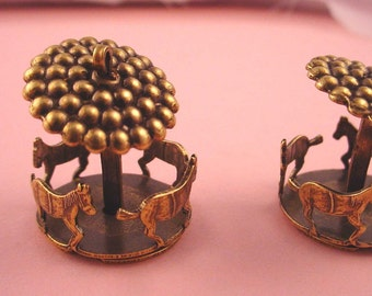 2 brass ox merry go round  carousel charms spins Circus