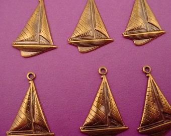 6 brass ox sailboat nautical sea charms 21mm