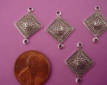 6 silver ox heraldic art nouveau diamond shape connectors 16mm