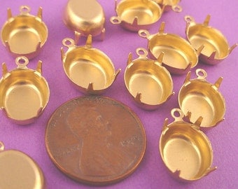 24 Brass Oval Prong Settings 12x10 1 Ring Closed Backs