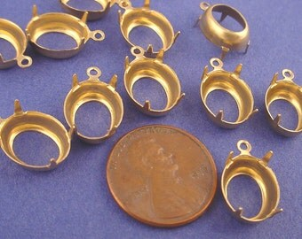 24 Brass Oval Prong Settings 12x10 1 Ring Open Backs