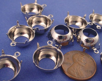 12 Silver tone Round Prong Settings 60SS 14mm 1 Ring Open Backs