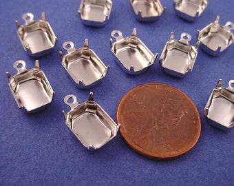 18 Silver tone Octagon Prong Settings with Loop 10x8 closed back