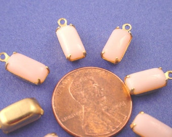 Vintage light  Pink Glass Octagon Drops 10x5 Brass Settings 1 Ring Closed Back Earring Drops Dangles Earring Elements - 6 pieces