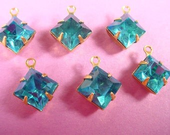6 Vintage Blue Topaz Square Rhinestone Drops 8mm Brass Prong Settings 1 Ring Closed Back