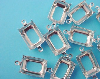 14 silver tone Octagon Prong Settings Open Backs 2 Ring 14x10 connectors