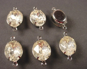 4 Vintage Crystal Oval Rhinestone Connectors 12x10 SILVER Prong Settings 2 Ring Closed Back