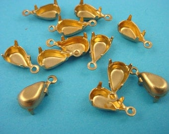 24 Brass Pear Prong Settings 10x6 1 Ring Closed Back
