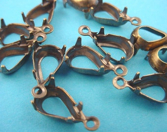 18 brass ox pear 10x6 setting prong open back 1 ring charms