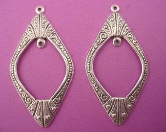 4 silver ox diamond shape hoop art nouveau inside loop charms 39mm