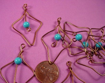 10 Vintage Turquoise Bead and Wire Leaf Charms