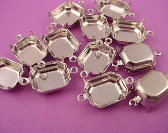 16 Silver Tone Octagon Prong Settings 12x10 2 Ring Closed Backs connectors