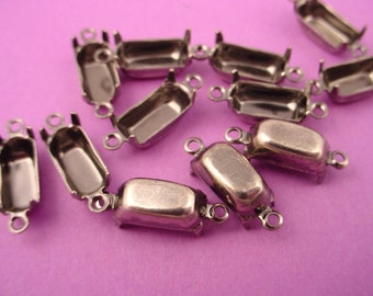 18 silver ox Octagon Prong Setting connectors 10x5 2 Ring Close back