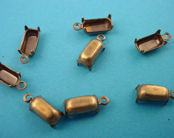 18 brass ox octagon prong 8x4 closed back 1 ring