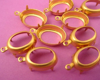 18 brass Oval Prong Settings 1 ring Loop open Back 14x10