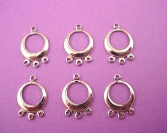 6 silver tone hoops triple chandelier charms 3 loops 14mm