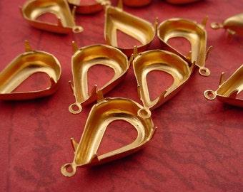 Brass Pear Teardrop Prong Setting 18x12 1 Ring Open Back