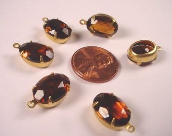 4 Vintage Topaz Glass Oval rhinestone Drops 14x10 Open Backs charms brass setting