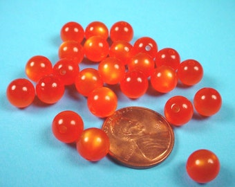 24 Vintage Orange Translucent Moonglow Beads 8mm
