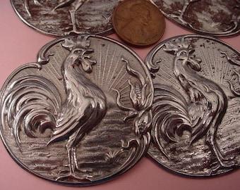 2 Vintage Rustic rusting Steel Rooster Stamping 50mm