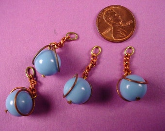 12 vintage blue bead and copper plated chain drop Charm