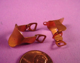 4 Vintage Copper Plated Saddle and Stirrup Charms miniature