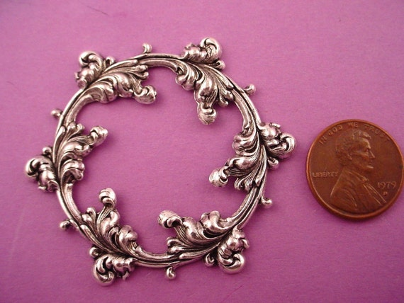 1 silver ox rococo open cut stamping hoop