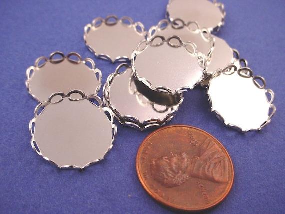 Silver tone Round Lace Edge Bezel Settings 15mm