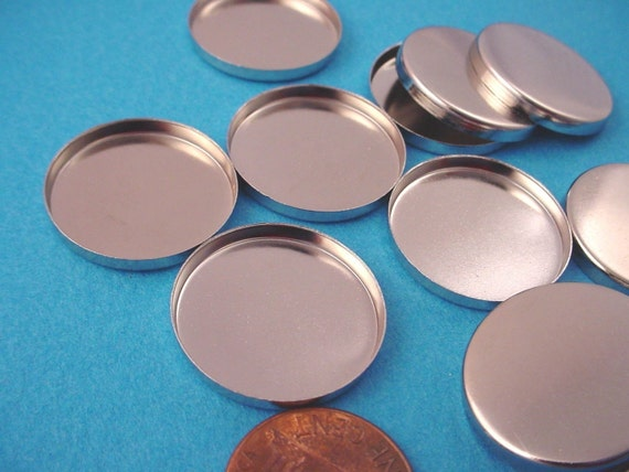 Silver tone Round Bezel Cups 22mm High Wall