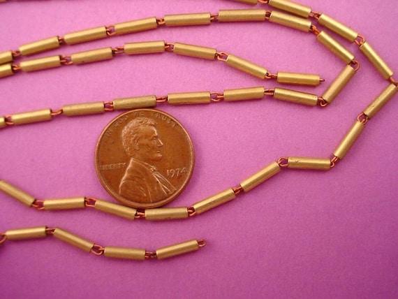 5 Feet Vintage Brass  Tube Bead Link Chain steampunk